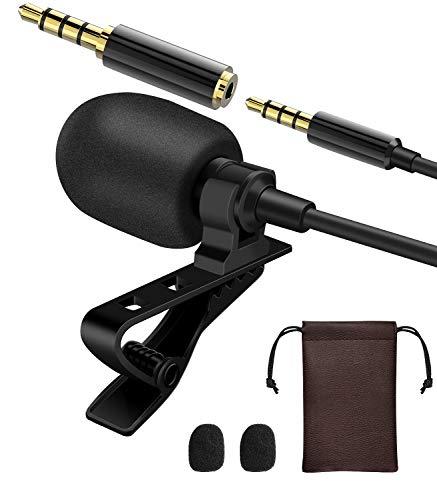Lavalier Mikrofon zum Anklipsen, omnidirektionales Kondensatormikrofon für Smartphone, Tablet, Laptop, PC, Aufnahme, Interview, Podcast, Sprachdiktation