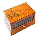 Reloj automático Caja de enrollador 4,4 + 6 Batería de Madera Relojes silenciosos Relojes Relojes Cajas Botines Mostrar Almacenamiento marrón WTZ012