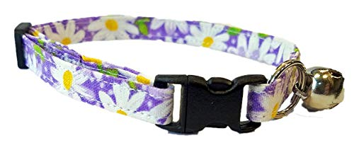 Purple Daisy Cat Collar - Flower Kitten - Adjustable - Daisies Spring Easter Fabric - Bell and Break Away Buckle - Violet lavender lavendar - Handmade by Britches4Stitches