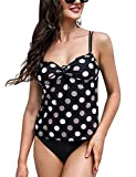 Irevial Tankini Mujer Clásico Traje de Baño de 2 Piezas Push-Up con Cuello en V Vest + Short de Baño Traje Tirantes Ajustables Swimsuit para Verano Negro Punto, XL