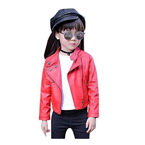 aiyu Chaqueta de piel sintética para bebé, abrigo de invierno para bebé, niña, niño, ropa de moda de manga larga sólida, abrigo corto de piel, ropa informal (color: rojo, talla infantil: 5)