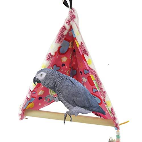 Warm Winter Bird House Bed Perca for Loro Guacamayo Grises africanos Amazon Periquito cacatúas Cockatoo Conure Amor Jaula de pájaros Columpio de Juguete fácil y portátil (Size : L)