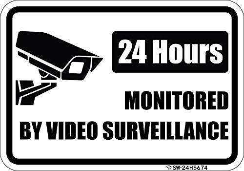None Brand - Segnale in alluminio per videosorveglianza, 24 ore su 24, per la sorveglianza
