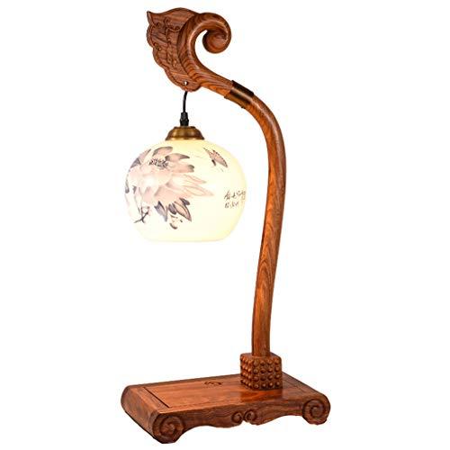 Lámparas Lámpara de Mesa Retro China, lámpara de Mesa de Madera Tallada a Mano de cerámica Creativa, Adecuada for Sala de Estar, Dormitorio, Oficina Lámpara de Mesa (Color : Button)