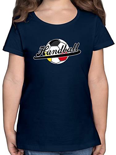 Handball WM 2021 Kinder - Handball Deutschland - 140 (9/11 Jahre) - Dunkelblau - EM - F131K - Mädchen Kinder T-Shirt