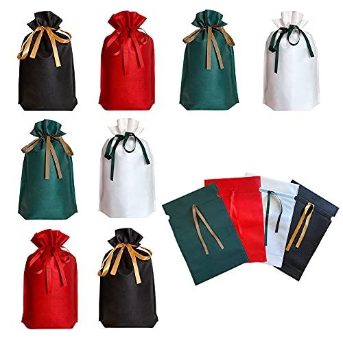 包む ギフト袋 ッピング リボン 付き 不織布 (四色12枚330mm×220mmx70mm)梱包 大きい ギフト プレゼント 贈り物 誕生日 クリスマス 母の日 父の日 敬老の日 バレンタイン