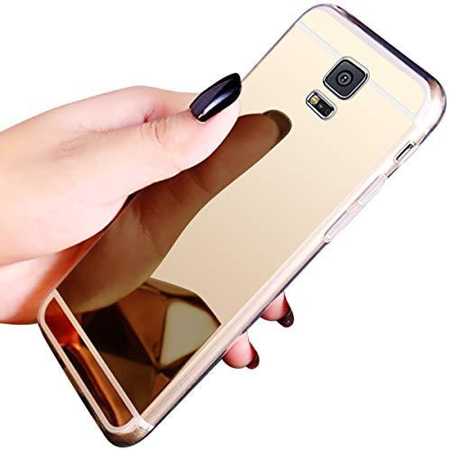 JAWSEU Compatible avec Samsung Galaxy S5 Coque Miroir Silicone,Cristal Brillant Bling Glitter Miroir Housse de Protection Slim Souple Gel Paillettes Strass Case Femme Fille,Or