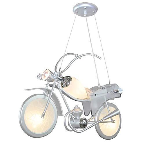 HXSON kroonluchter creatieve cartoon motorfiets 4 koppen LED spaarlamp zachte ogen lamp - in hoogte verstelbaar - geschikt voor 10-15m2 kinderkamer