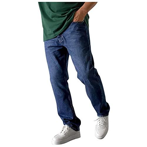 BIBOKAOKE Jeans Herren Einfarbig Loose Jeanshosen Casual Breite Hosen Mode Stretchdenim Hose Herrenjeans Lässige Denimhosen Sporthose Jeanshose Stretch-Denim Männer Jeans-Hose Denim Pants