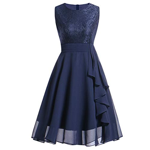 Lazzboy Damen Kleid Sommer Elegant Kleider Spitzenkleid Knielang Festlich Hochzeit Partykleid Rockabilly Retro Cocktailkleid Sommerkleid Ärmellos Großes Pendel Lose Langes Dress(Blau,S)