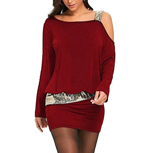 iYmitz Womens Fashion Party trägerlos kalte Schulter Pailletten Bling Mini Blouson Kleid