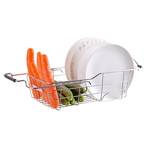 WLH- Rvs spoelbak Retractable Afdruiprek Keuken Basin Bowl Shelf Drain Rack Bowl Rack