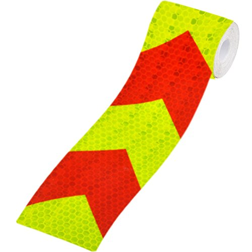 """Kocome 3M Night Reflective Conspicuity Safety Warning Tape Strip Arrow Sticker 2""""X118"""" (Red-Fluorescent)"""