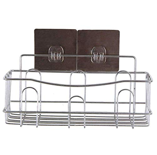 MLL Bathroom Dish Drainer Sink Storage Shelf Organizer Storage Kitchen Rack with Traceless Adhesive No Drilling Stainless Steel Rack
