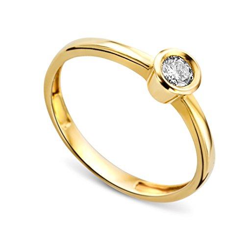 Miore MA73RYP - Anillo de mujer de oro amarillo (14k) con 1 diamante (talla: 16)