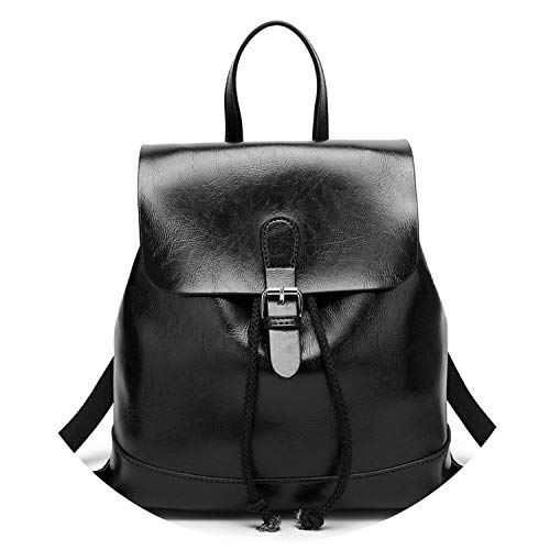 Zaini di qualità in pelle PU zaini scuola per ragazze adolescenti stile Preppy borsa a tracolla, Nero (Nero ), Taglia unica