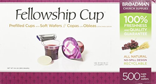 Broadman Church Supplies Pre-filled Communion Fellowship Cup, Juice and Wafer Set, 500 Count