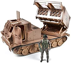 Sunny Days Entertainment US Army M270A1 Multi Launch Rocket System – Vehicle Playset with Action Figure   Military Toy Missile Launcher Set for Kids – Elite Force, Multicolor