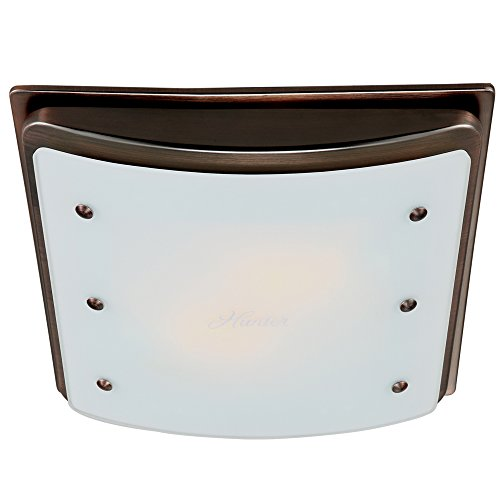 Hunter 90065 Ellipse Bathroom Ventilation Exhaust Fan with Light and Swirled Marble Glass, Imperial Bronze