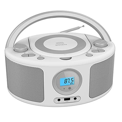 Lettore CD Radio portatili Boombox con bluetooth | Radio FM | USB | Riproduzione MP3 | Compatibile con CD-R/CD-RW, lettore CD radio