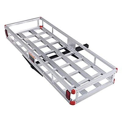 "Goplus 60"" x 22"" Hitch Mount Cargo Carrier, Aluminum Luggage Basket Rack Fits 2"" Receiver, Rear Cargo Rack for SUV, Truck, Car, 500LBS"