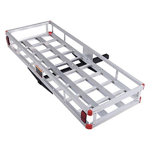 """Goplus 60"""" x 22"""" Hitch Mount Cargo Carrier, Aluminum Luggage Basket Rack Fits 2"""" Receiver, Rear Cargo Rack for SUV, Truck, Car, 500LBS"""