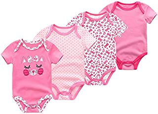 Child's Gift Baby Girl Clothes, 4 Pieces/Group 0-3 Months Baby Girl Clothes, 100% Cotton Short Sleeve Baby Clothes Girl for Wear on The Body Gift Photograph (Color : Silver, Kid Size : 6M)