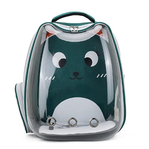 Katt ryggsäck bärare husdjur utrymme kapsel bubbla genomskinlig bärbar ryggsäck för vandring resor promenader utomhus, olja grön
