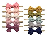 Baby Girl Headbands and Linen Hair Bows, Stretchy Nylon Hairbands for Newborn, Infant, Toddlers