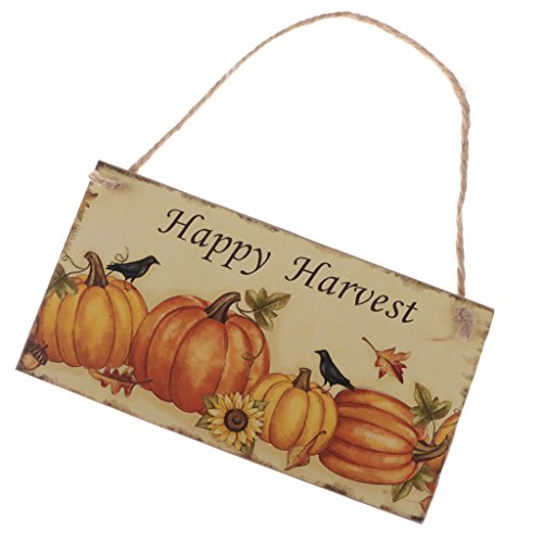 MagiDeal Halloween Tür-Schilder aus Holz mit Kordel zum Aufhängen - Türhänger Wandschild Türschild Dekoration - für Halloween Erntedankfest Party - Happy Harvest, 20 x 10.5 cm