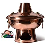 Premium Chinese Traditional Old Beijing Charcoal Copper Hot Pot, Pot Shabu, Camping Home Use Buffet, Cooker Soup Large Cook Cooking, Send Blower
