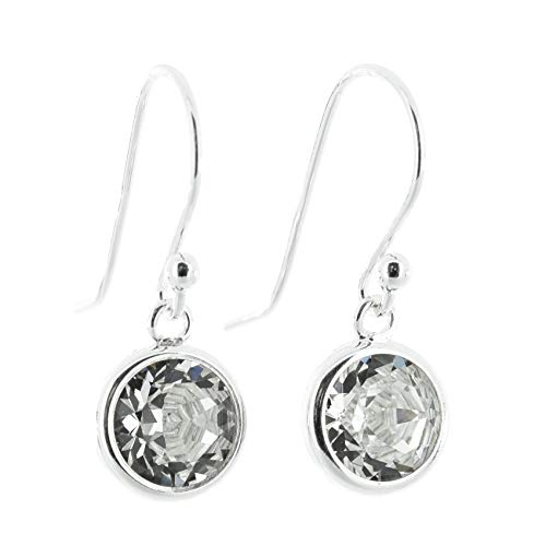 pewterhooter 925 Sterling Silver drop earrings for women made with sparkling Diamond White crystal from Swarovski in a silver channel setting. Gift box.