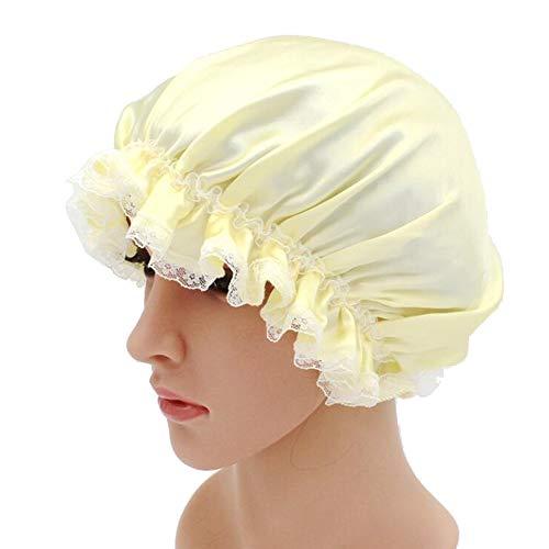 WJH Sleeping Cap pour Les Femmes en Soie Naturelle avec Sommeil Caps Bande élastique pour Cheveux Perte de Sommeil sur la Protection des Cheveux (2 pièces),Jaune