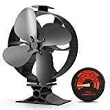 CWLAKON 2019 Upgrade Designed Silent Operation 4-Blades Large Size Heat Powered Stove Fan with Stove Thermometer for Wood/Log Burner/Fireplace,Eco Friendly and Efficient Heat Distribution