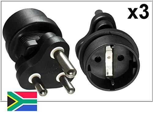 DINIC Reisestecker, Stromadapter für Südafrika und Indien auf Schutzkontakt-Buchse, Netzadapter 3-polig (3 Stück, schwarz)