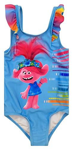 DreamWorks Trolls Poppy Toddler Girls Ruffle One Piece Bathing Suit Blue 4T