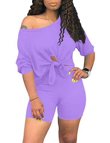 cailami Women's Sexy 2 Piece Club Outfits Tie Up Crop Top Bodycon Shorts Jumpsuit Set, Large, Purple