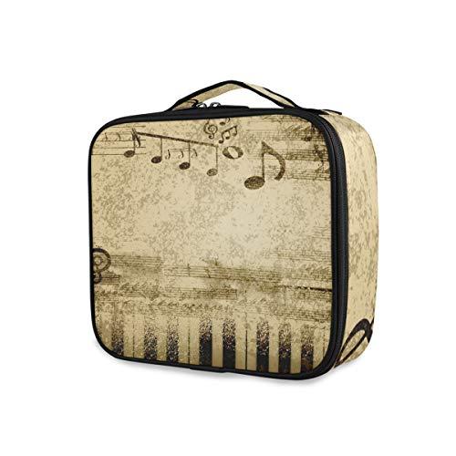 Toilettas, make-uptas, tassen, muzieknoten op oud papier, draagbare gereedschappen, cosmetica-trekkoffer, reisopslag