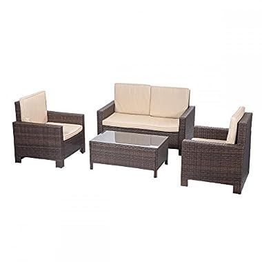 BestMassage 4pc PE Rattan Wicker Sofa Set Cushion Outdoor Patio Sofa Couch Furniture