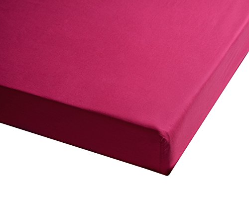 Sancarlos - Sábana bajera , 100% Algodón percal, Color rosa, Cama de 80