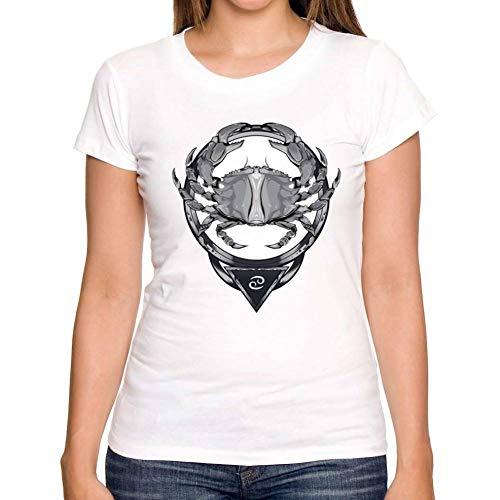 LIULINUIJ Frauen-T-Shirt Sommer Frauen T-Shirt Konstellation Serie Design Krebs T-Shirt Kurzarm Shirt Weiß Heißen T-Shirts