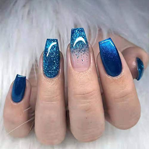 Bodiy Coffin Press on Nails Blue Ombre Long Fake Nails Ballerina Full cover Bling Falses Nails for Women and Girls (Pieces of 24)