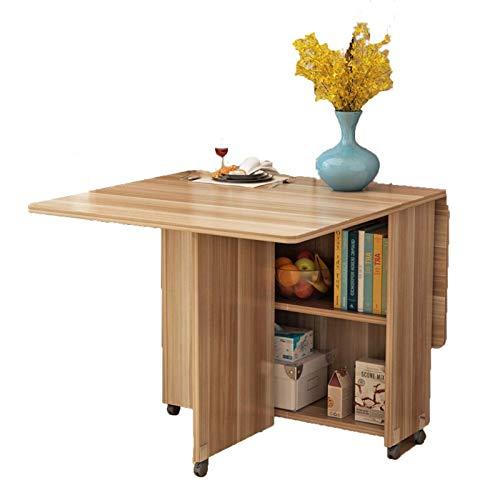 AOIWE Mesa de comedor plegable de madera moderna y sencilla para el hogar, multifuncional, para sala de estar, cocina, mesa de almacenamiento extraíble (color teca, tamaño: 140 cm)