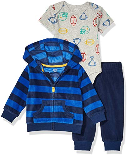 Amazon Essentials 3-Piece Microfleece Hoodie Set Infant-and-Toddler-Pants-Clothing-Sets, Multicolor (Sports), Preemie (Talla del fabricante:):)