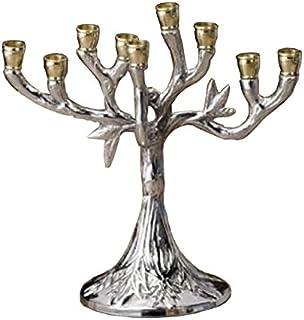 Biedermann & Sons Silver-Tone Tree Design Hanukkah Menorah, 5.5 Inches Tall