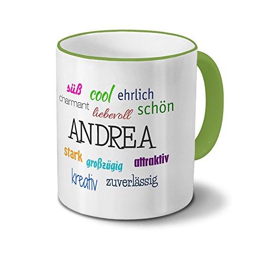 printplanet Tasse mit Namen Andrea - Positive Eigenschaften von Andrea - Namenstasse, Kaffeebecher, Mug, Becher, Kaffeetasse - Farbe Grün