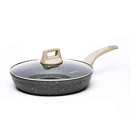Carote 8 Non-stick Skillet Frying Pan with Glass Lid Cookware Granite Stone Coating from SwitzerlandBlackGift Wooden Turner