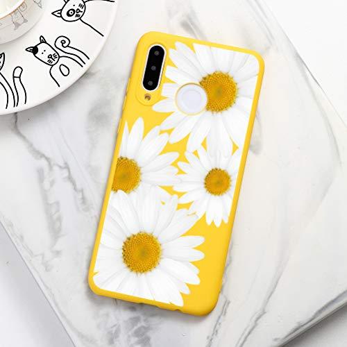 Pnakqil Funda Huawei P10 Lite Silicona con Dibujos Suave Carcasa Color Ultra Slim y Ligero Gel TPU Soft Piel Case Antigolpes Goma Protectora Case Cover Fundas para Huawei P10Lite, Flor 02 - Amarillo