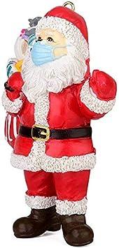 JFAN Christmas Ornament 2020 Santa Claus Ornament 2020 Santa with Face Cover Christmas Tree Decoration Smiley Santa Pendant Unique Ornament for Family Special Keepsake 1-5 PCS