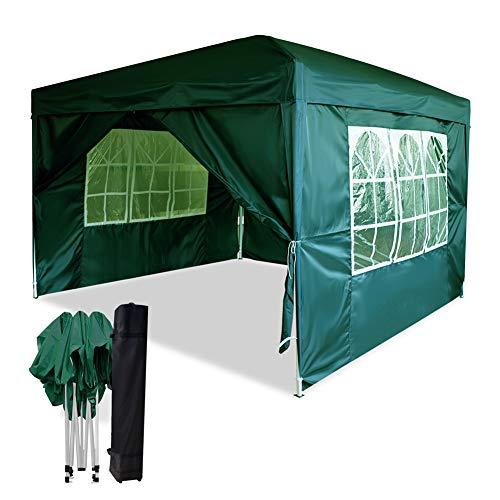 Mondeer 3x3m Faltpavillon, Pavillon mit 4 Seitentüchern, Pop up Zelt im Freien, UV-Schutz, Faltbar Garten Pavillon, Wasserdicht Gartenzelt, für Partys, Camping, Hochzeiten, Festival, Grün